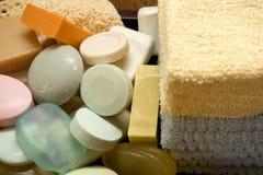 Toalhas e sabões Foto de Stock