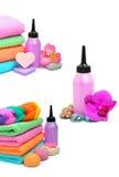 Toalhas empilhadas coloridas dos termas Fotografia de Stock
