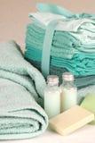 Toalhas verdes com sabão e champô fotos de stock royalty free