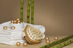 Toalla, balneario y bambú Imagen de archivo libre de regalías