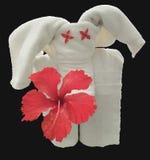 Toalla del elefante con el hibisco rojo Foto de archivo libre de regalías