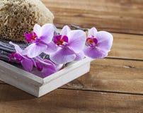 Toalla y esponja natural para el lavado y la relajación Foto de archivo libre de regalías
