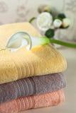 Toallas coloreadas del algodón con la flor en ellos Fotografía de archivo