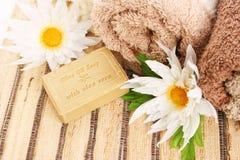 Toallas y jabón Foto de archivo libre de regalías