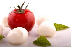 Toamto mit Mozzarella und Basilikum Lizenzfreies Stockbild