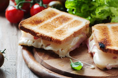 Toas with ham and cheese Stock Photo