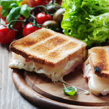 Toas with ham and cheese Stock Photos
