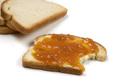 Toast. With jam isolated over a white background royalty free stock images