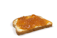 Toast. With jam isolated over a white background stock photo
