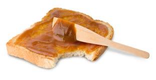 Toast. Rich crispy toast with jam on white background Stock Photo