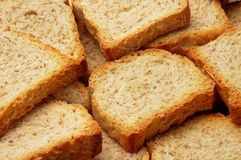 Toast. Pile of toasted from above Stock Photo