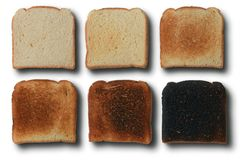 Toast. Six stages of toast bread Royalty Free Stock Photos