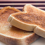 Toast. Close up of two slices of hot, soft toast Royalty Free Stock Images