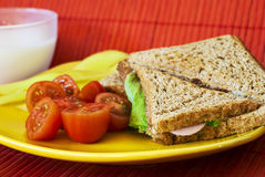 Toast. With ham and salad close up shoot Stock Image