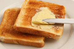 Toast. Bread and a butter Stock Images