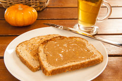 Toast with Almond Butter Royalty Free Stock Photography
