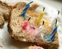 A toast as a birthday cake. Improvised birthday cake made of candles on a toast Royalty Free Stock Photo