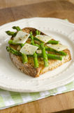 Toast with asparagus Stock Image