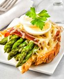 Asparagus toast for breakfast of brunch Royalty Free Stock Image