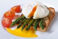 Toast with asparagus, poached egg and tomato closeup Royalty Free Stock Image