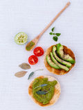 Toast with avocado creamy salad and herbs Royalty Free Stock Photography