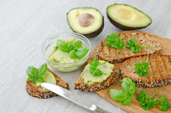Toast with avocado dip Royalty Free Stock Images