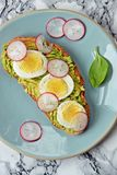 Toast with avocado, egg and radish royalty free stock photography