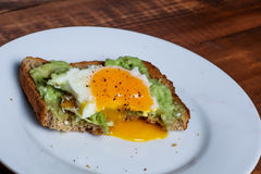 Toast with avocado and egg Stock Image