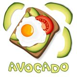 Toast with avocado and fried egg, with slices of tomato on bread. Healthy diet food. Element for menu design, banner, print or stock illustration