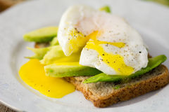Toast with avocado and poached egg Royalty Free Stock Photo