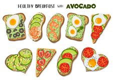 Toast with avocado stock illustration