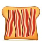 Toast with bacon vector illustration Royalty Free Stock Photo