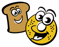 Toast and Bagel Royalty Free Stock Images