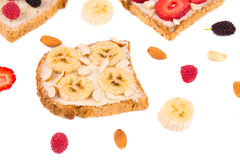 Toast with banana fruit for breakfast meal. Stock Photography