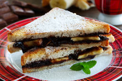 Toast with bananas and chocolate Stock Photography