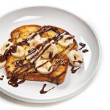 Toast with Bananas and Chocolate Stock Images