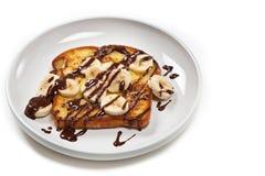 Toast with Bananas and Chocolate Stock Photos