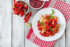 Toast with berries and jam Stock Image