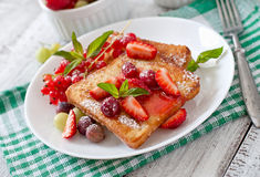 Toast with berries and jam Royalty Free Stock Photo
