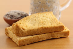 Toast biscuits with herbal juice Royalty Free Stock Photography