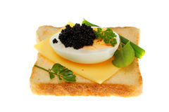 Toast with black caviar. Stock Photo