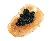 Toast with black caviar Royalty Free Stock Photography