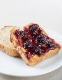Toast with blueberry jam Stock Image