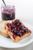 Toast with blueberry jam Royalty Free Stock Photos