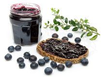 Toast with blueberry jam and fresh blueberries Stock Photo
