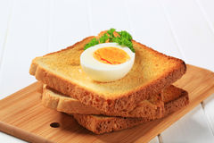 Toast and boiled egg Stock Photo