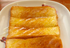 Toast bread with butter sweet milk Royalty Free Stock Photo