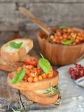 Toast bread with chickpeas royalty free stock photo