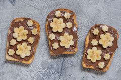 Toast bread with chocolate spread and banana Royalty Free Stock Photography