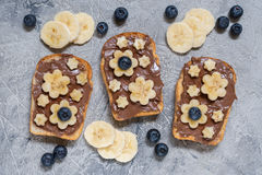 Toast bread with chocolate spread and banana Royalty Free Stock Photo